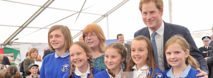 HRH Price Harry with Suffolk Farming School of the Year