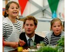 HRH Prince Harry with children in the food tent